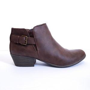 Espirit Dark Brown Buckle-Accent Tally Ankle Boot